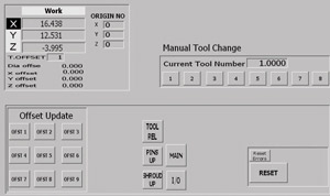 tool change interface screen